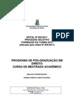 Edital Selecao Mestrado Turma 2012 Alterado