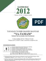 """Kalender Hisab """"YA TAMAM"""" 2012"""