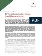 10 Verstärker in Sachen Online-Empfehlungsmarketing