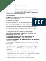SÍNTESE DA ATA DA AUDIÊNCIA DE MED nº 000013.2012.01.003/3-303,  ENTRE MPT E PMCG E TRANSPORTES