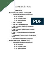 Actuarial Certification Tracks