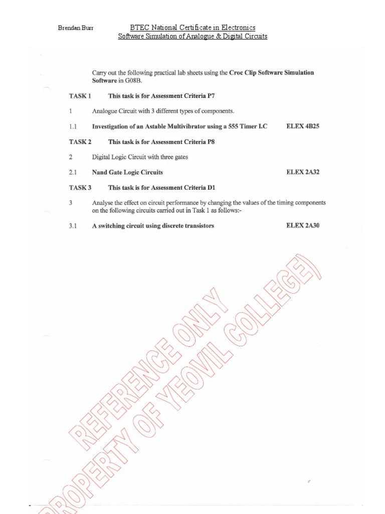 Btec Nc Electronics Software Simulation Of Analogue And Digital Basic Logic Gates Circuits Worksheets