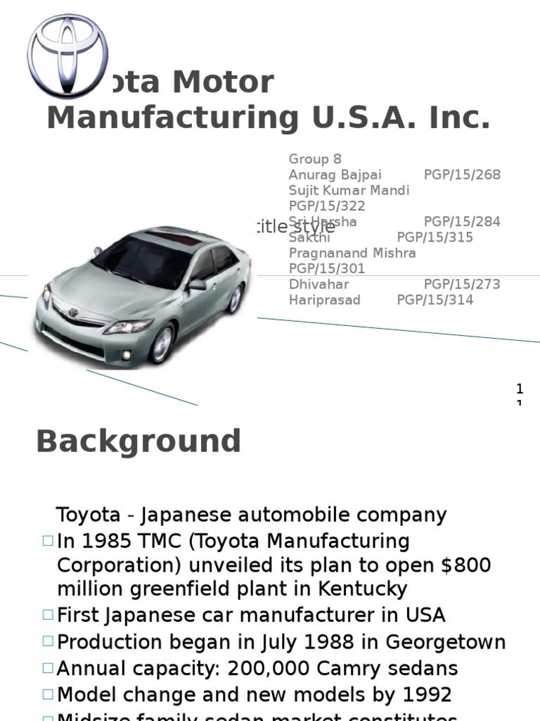 toyota motor manufacturing usa inc