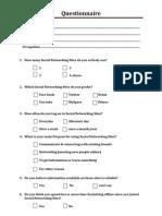 Social Networking Sites Questionnaire