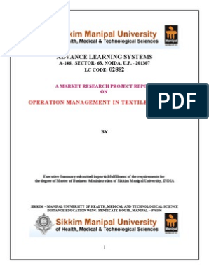 Operation Management in Textile Industry | Textile