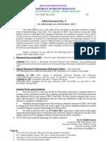 III Advt for RA-JRF-SRF-TA for Biotech Hub