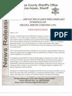 Sheriff Joe Arpaio Report on Obama Birth Certificate - 3-1-2012