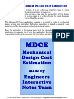 Mechanical Design Project Cost Estimation
