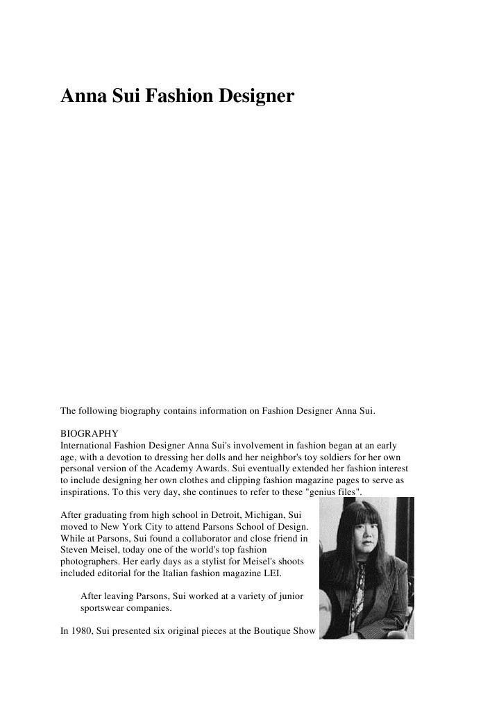 Anna Sui Fashion Designer Fashion Fashion Beauty