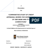 """""""COMPARATIVE STUDY OF CREDIT APPRAISAL NORMS FOR HOME LOANS OF IDBI BANK AND IT'S COMPETITORS"""""""