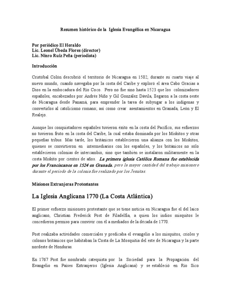 HISTORIA EVANGELICA NICARAGUA