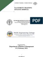 Pre Placement Training Handout Finance