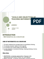 Goals and Objectives of Teaching Mathematics