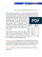 Preparation for Tabular Presentation