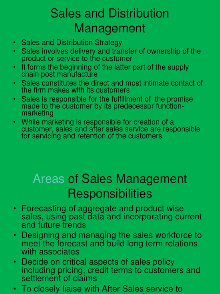 sales and distribution mgt Secondly adopting a customer-centric approach to sales and distribution  management, the book deals with making strategic decisions keeping the end.