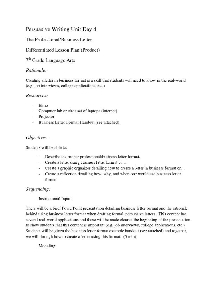 Persuasive Business Letter Format Image Collections