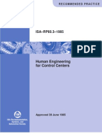 ISA RP 60.3 Human Engineering for Control Centers