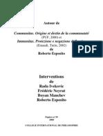 Esposito, Roberto - Colloque Autour Communitas-immunitas (CIPH, Papiers 59)