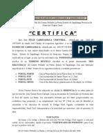 Certificadio de Posesion -Punta de Felix