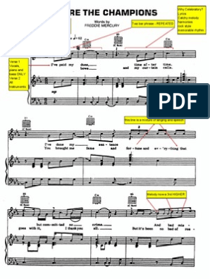We Are the Champions Piano Score (Annotated) | Song Structure | Bass