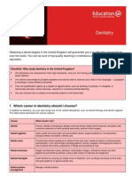 Learning Info Sheets Dentistry