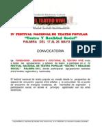 CONVOCATORIA IV FESTIVAL NACIONAL DE TEATRO POPULAR, TEATRO Y REALIDAD SOCIAL