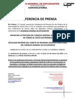 CGE C3-03-12 Conferencia de Prensa - Postura Voto Electronico - Estado Asamblea - Anuncio Propuesta CRU