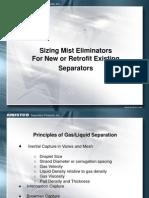 Sizing Mist Eliminators for New and Retrofit Existing Separators