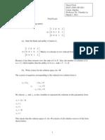 Final Exam Linear Algebra