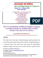 The Use and Ranking of Different English Language Learning Strategies by English Major Iranian Female University Level Learners