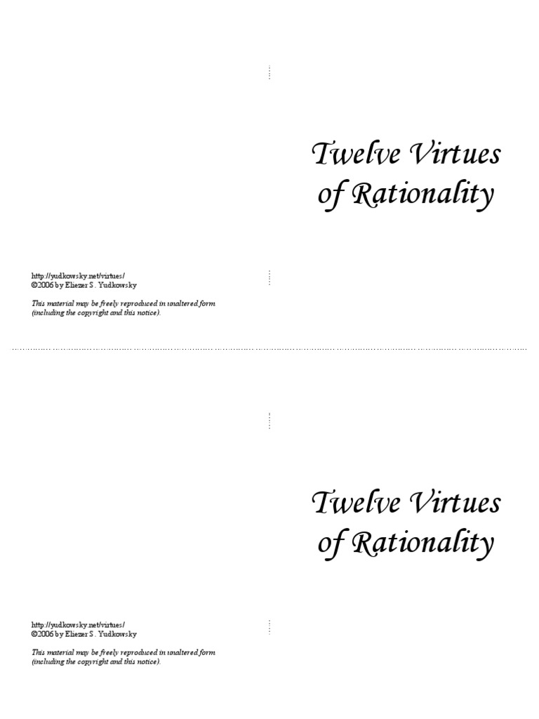12 Virtues 12 virtues of rationality   the book of five rings   argument