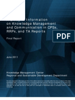 A Study of Information on Knowledge Management and Communication in CPSs, RRPs, and TA Reports