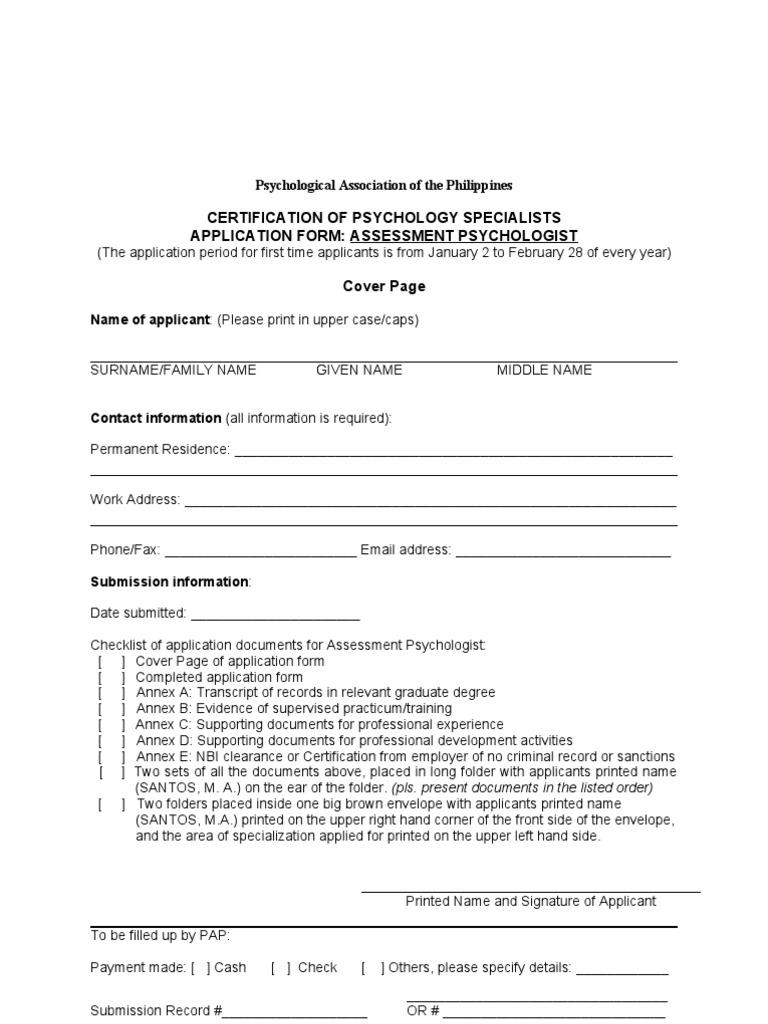 Assessment Psychologist Application Form Doc Educational