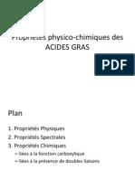 Propriétés physico-chimiques des ACIDES GRAS