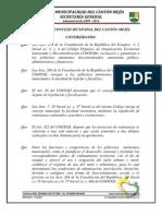 Ordenanza de Fraccionamientos Urbanizaciones y Lotizaciones en El Canton Mejia