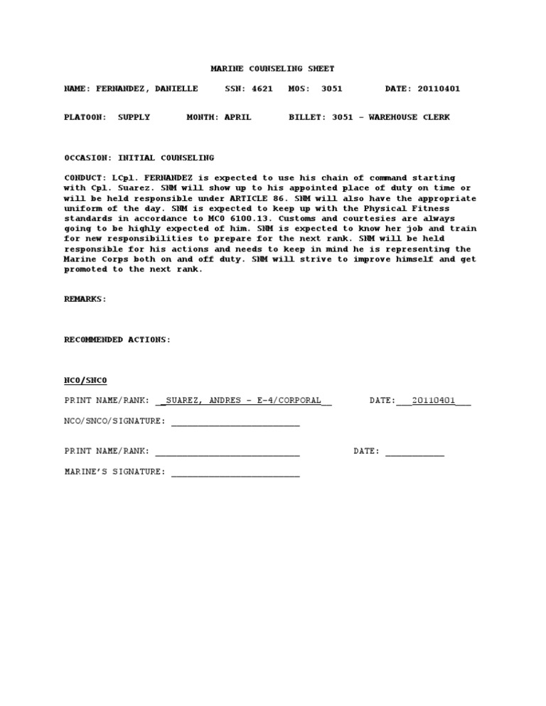 usmc counseling sheet template] - 100 images - write a will ...
