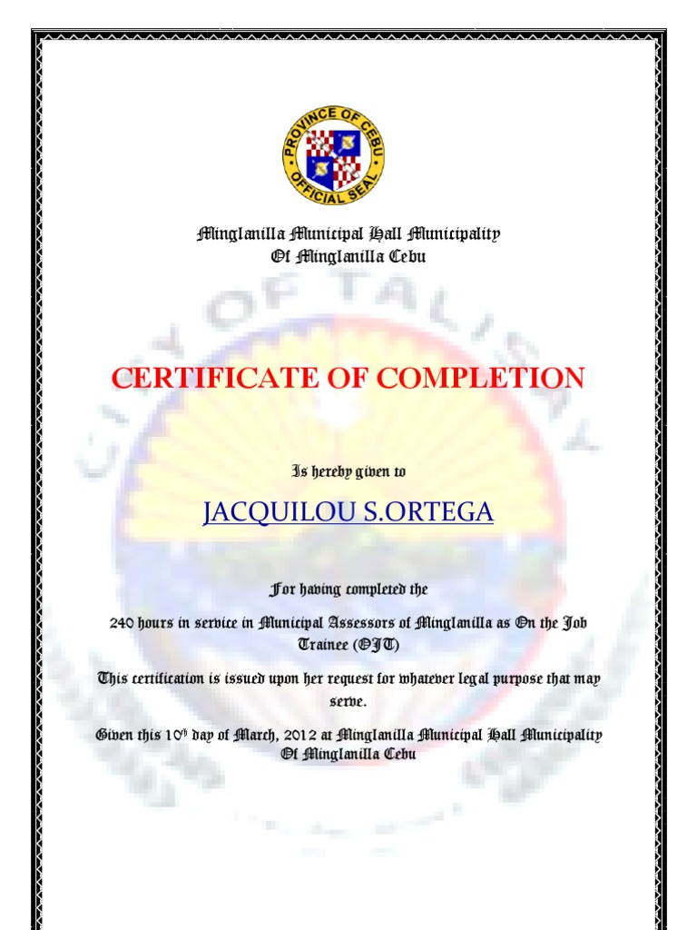 format of completion certificate