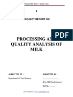 Processing and Quality Analysis of Milk