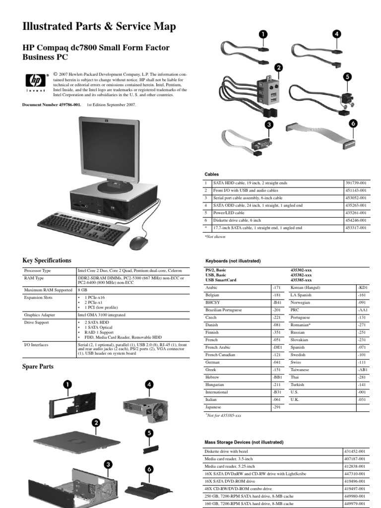 Illustrated Parts Service Map - HP Compaq Dc7800 Small Form Factor