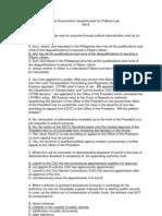 Political 2011 Bar Exam Questionnaire