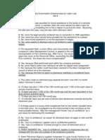 Labor 2011 Bar Exam Questionnaire