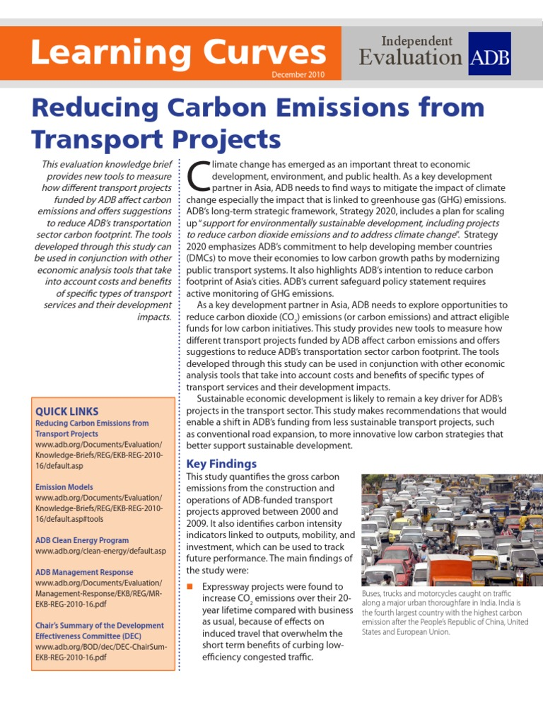 Reducing Carbon Emissions From Transport Projects | Low