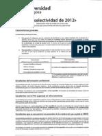 SELECTIVIDAD 2012