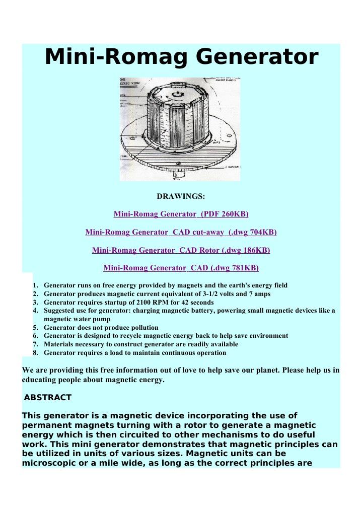 mini romag generator pdf