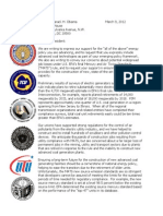 Union Letter to President Re- EPA MATS