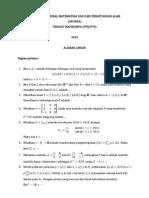Soal Olimpiade Nasional Matematika Dan Ilmu Pengetahuan Alam (Onmipa) 2010 - Aljabar Linear