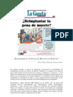 ¿Reimplantar La Pena de Muerte en Bolivia? - 2012