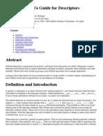 How-To Guide for Descriptors