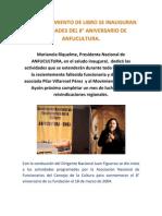 CON LANZAMIENTO DE LIBRO SE INAUGURAN ACTIVIDADES DEL 8° ANIVERSARIO DE ANFUCULTURA.