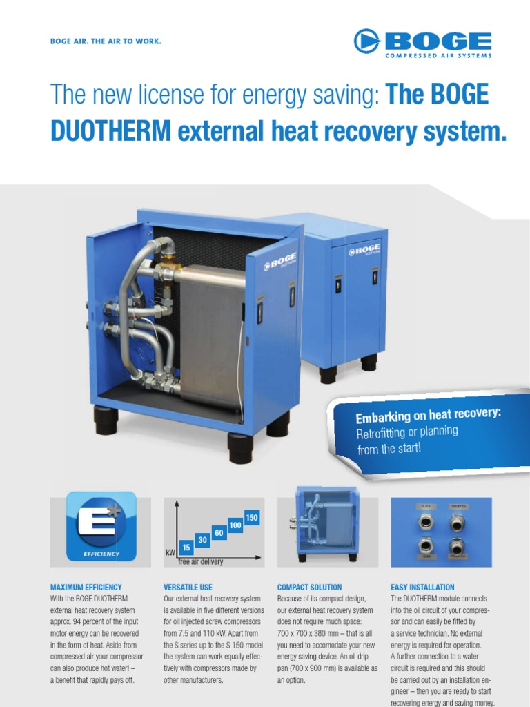 BOGE Air Compressors - DUOTHERM External Heat Recovery System | Gas  Compressor | Engines